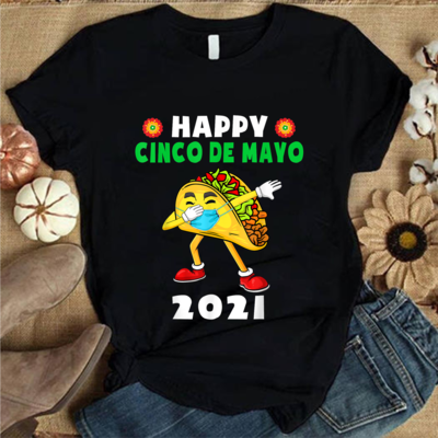 Happy Cinco De Mayo 2021 Cute Taco Wearing Mask Kids Toddler T-Shirt, Cinco De Mayo Gift Ideas, I love Tacos Gift  Trending Unisex V Neck Kid T Shirt