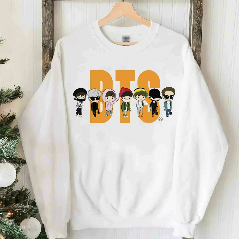 BTS Cute Chibi Shirt,BTS Army Shirt,Kpop Lover Gift,BTS Vintage Shirt,Kpop shirt,I Heart Awards,Unisex Bangtan Tshirt,BTSTrending Unisex Hoodies Sweatshirt Long Sleeve V Neck Kid T Shirt