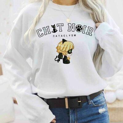 Chat Noir Cat Noir Tshirt, Miraculous MariChat Adrienette Marinette Ladybug Cataclysm Streetstyle Shirt, Sweatshirt Hoodie, Cartoon Shirt