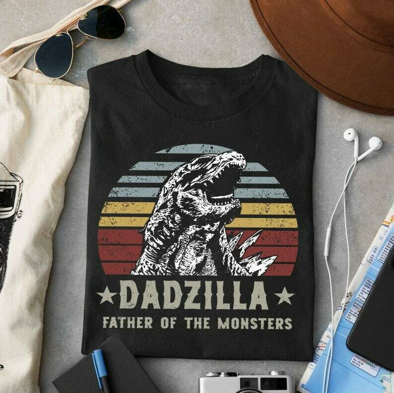 Dadzilla Father Of The Monsters Unisex T Shirt, Funny Father's Day, Happy 2021 Father's Day Trending Hoodies Sweatshirt Long Sleeve V Neck Tank Top Kid Tee T Shirt