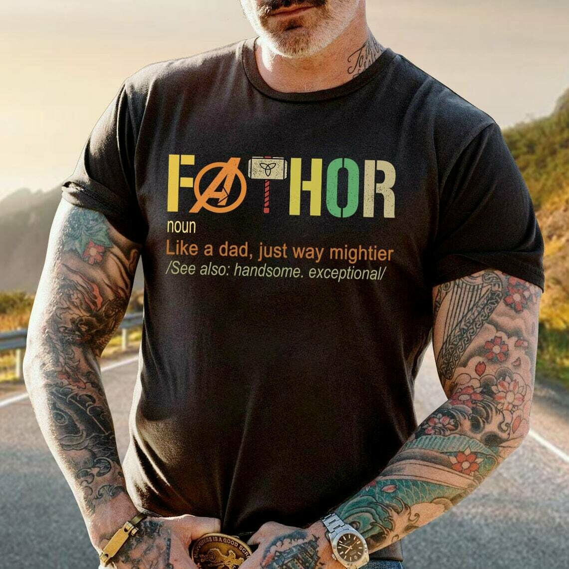 FATHOR Shirt, Noun Like A Dad T Shirt, Funny Father's Day, Happy 2021 Father's Day Trending Hoodies Sweatshirt Long Sleeve V Neck Tank Top Kid Tee T Shirt