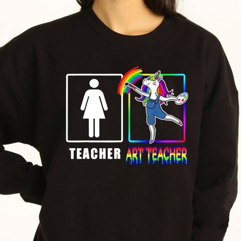 2021 Personalized Art Teacher Shirt,Gift For Art Teacher,Proud Art Teacher Life Shirt,Funny Unicorn shirt,Eat Sleep Art Repeat T Shirt