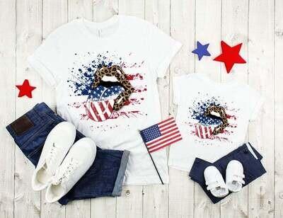 Patriotic Lips Shirt, American Flag Lips, 4th of July Shirts, Cheetah Lips Shirt, American Flag Lips Trending Unisex Hoodies Sweatshirt Tank Top V neck T Shirt
