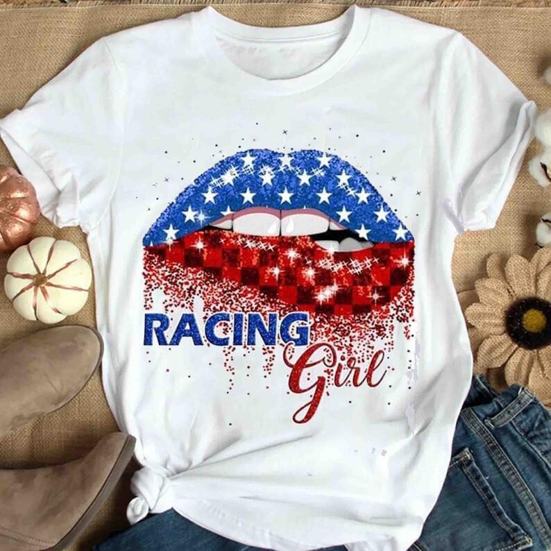 Racing Girl Shirt, Cute Lips US Shirt , 4th of July Shirt , Independence Day Gift Trending Unisex Hoodies Sweatshirt Tank Top V neck T Shirt