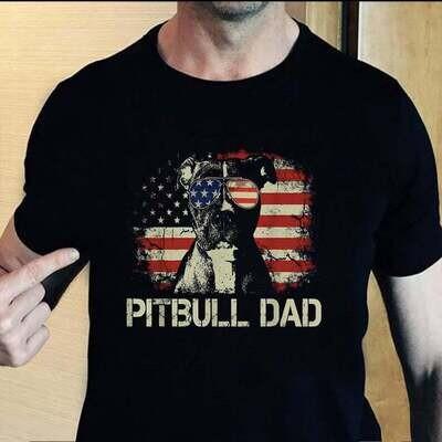 Pit Bull Dog Dad T Shirt, Pit Bull 04th Of July Dad T shirt, Pit Bull Dad Shirt, Gift For Dad, Father's Day Gift, Dad Shirt Pitbull Trending Unisex Hoodies Sweatshirt Tank Top V neck T Shirt