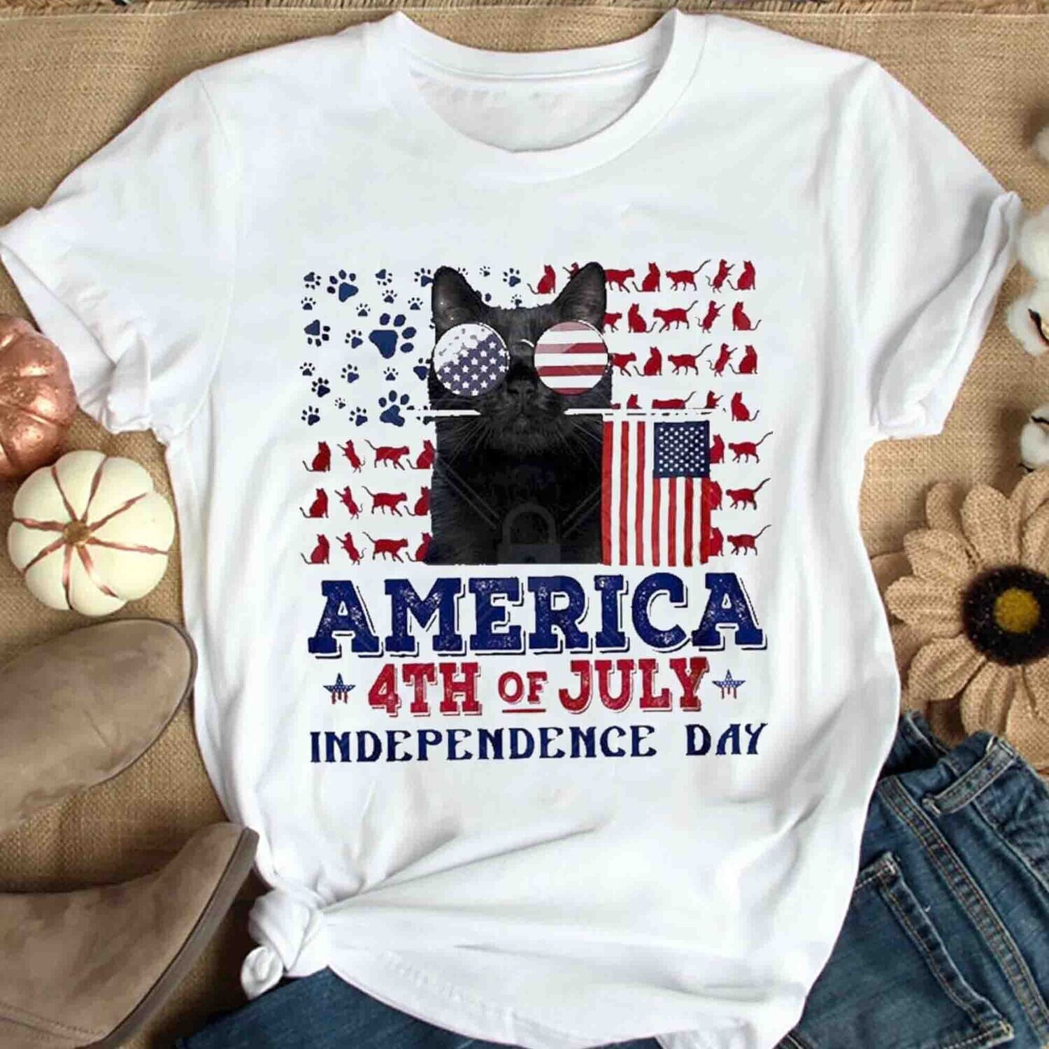 Cat America the 4th of July shirt Independence Day Gift Trending Unisex Hoodies Sweatshirt Tank Top V neck T Shirt