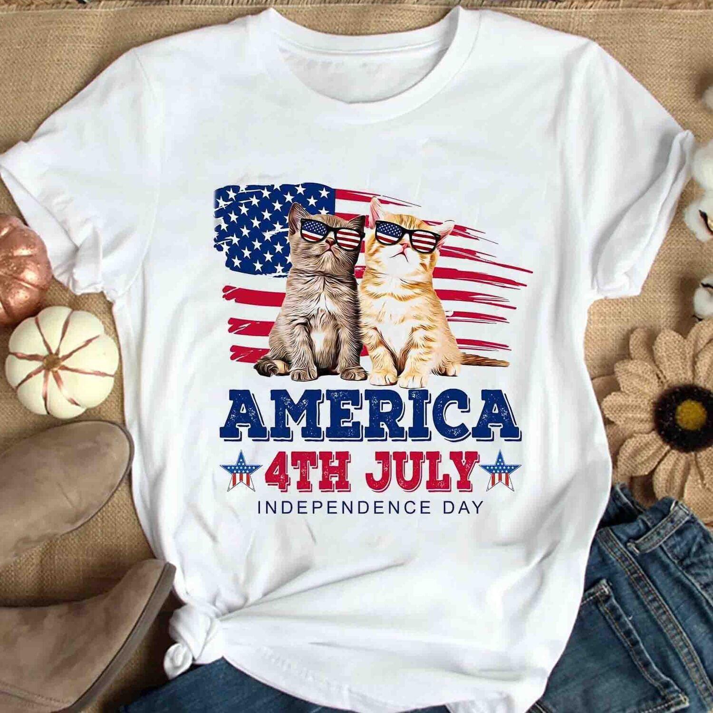 Cat American shirt, 4th of July Shirt , Independence Day Gift Trending Unisex Hoodies Sweatshirt Tank Top V neck T Shirt