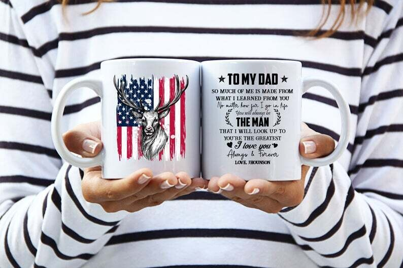 Personalized Deer USA Flag Mug, Deer Hunting Dad Cup, Hunter Dad Gift, Fathers Day Cup, Greatest Dad, Independence Day Gift, July Of 4th