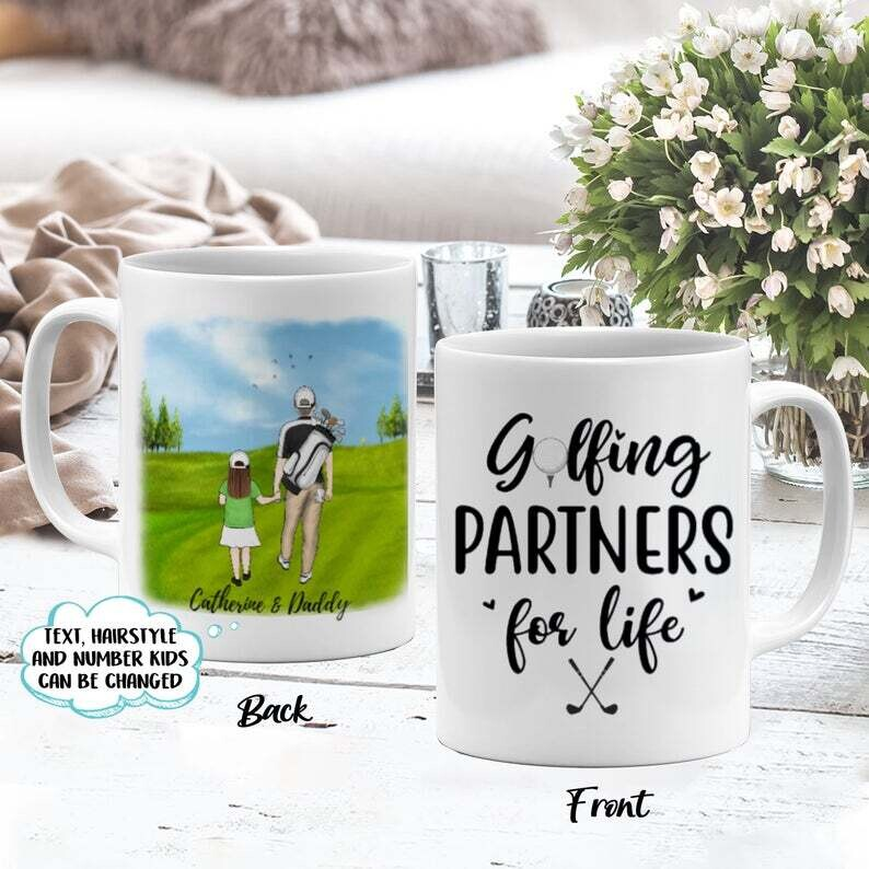 Personalized Golfing Partners For Life Coffee Mug-Gift For Golf Couple, Golf Lovers - Personalized Couple Gift, Father And Daughter Gift