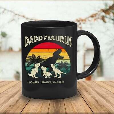 Personalized Dad Dinosaur Mug, Daddy Mug, Daddysaurus coffee mug, Daddy Dinosaur Mug, Step Dad, Funny Mug, Baby dinosaur mug