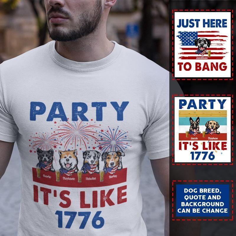 Custom Cute Dog, Party It's Like 1776 Personalized Trending Unisex Hoodie Tank Top Long Sleeve Sweatshirt V neck Kid T Shirt