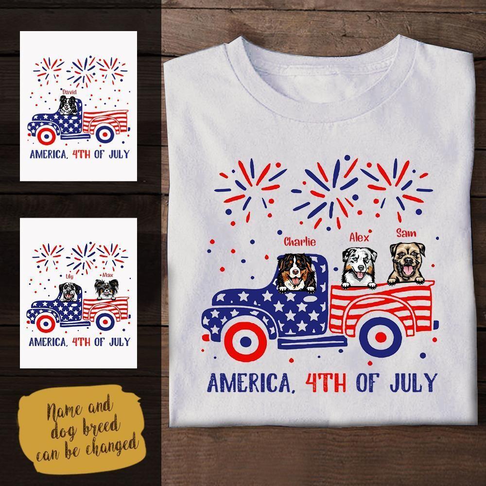Custom Funny Dog, America 4th Of July Personalized Apparel Trending Unisex Hoodie Tank Top Long Sleeve Sweatshirt V neck Kid T Shirt