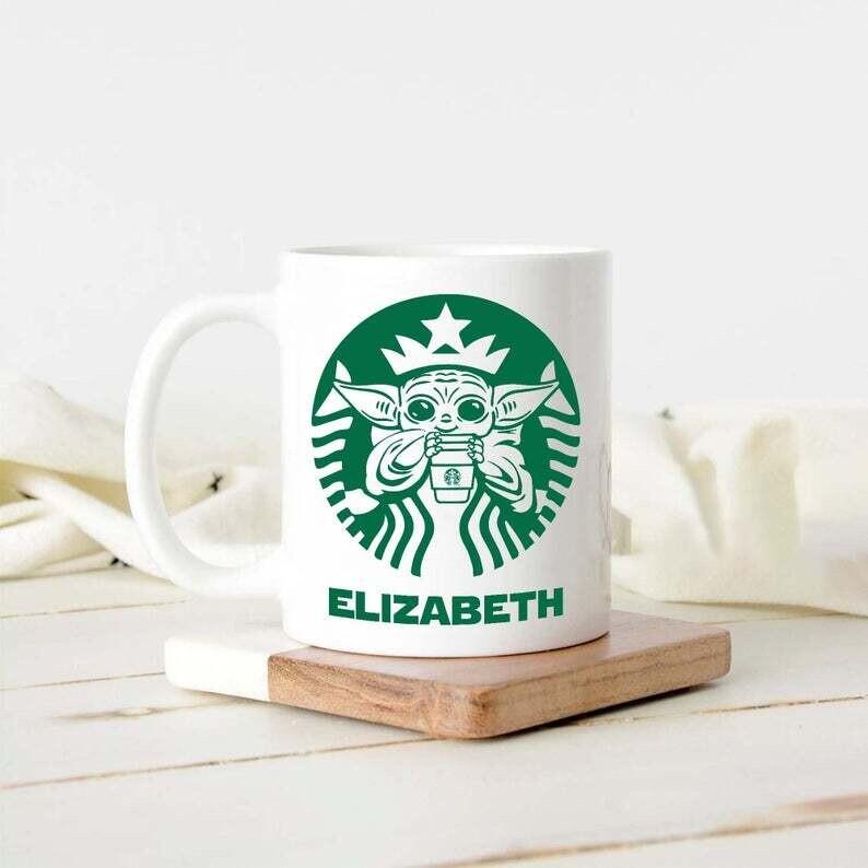 Personalised Baby Yoda Starbuck Mug, Funny Baby Yoda Mug, Custom Yoda Lover Mug, Custom Yoda Starbuck Mug