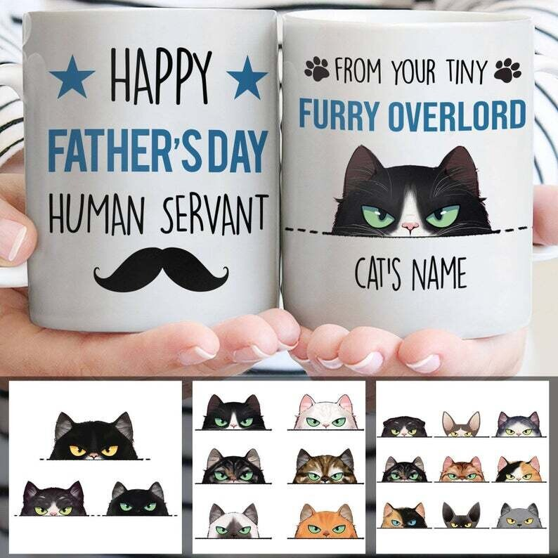 Personalized Cat Dad Mug, From Your Tiny Furry Overlord, Funny Happy Father's Day Mug, Best Custom Gift Ever For Cat Dad, Cat Lover