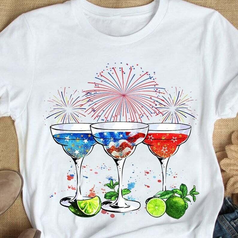 American Flag Firework Margarita Shirt, Funny Cocktail Margarita 4th Of July Shirt, Margarita Lovers Trending Unisex Hoodie Long Sleeve Sweatshirt Tank Top Vneck Kid Shirt