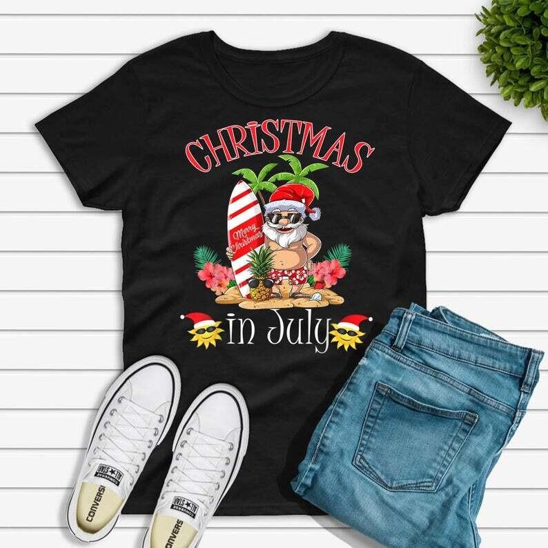 Christmas In July Shirt, Funny Santa Summer Beach Vacation Trending Unisex Hoodie Long Sleeve Sweatshirt Tank Top Vneck Kid Shirt