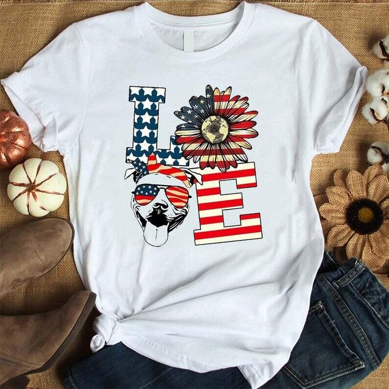 Love Pitbull American Flag Trending Unisex Hoodie Long Sleeve Sweatshirt Tank Top Vneck Kid Shirt