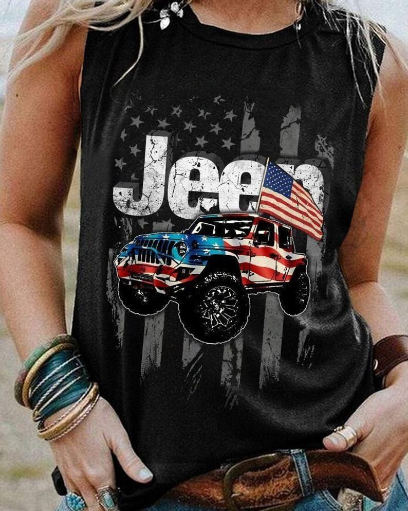 Jeep Heart America Flag Shirt  4th of July Trending Unisex Hoodie Long Sleeve Sweatshirt Tank Top Vneck Kid Shirt