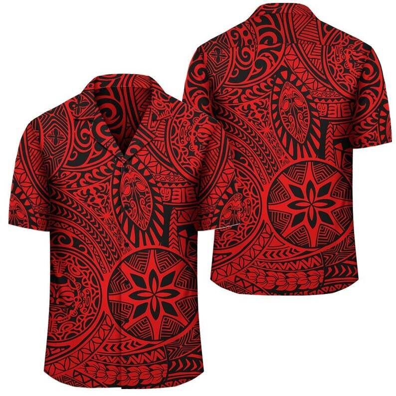 Polynesian Hawaiian Style Tribal Tattoo Red Hawaiian Shirt, Cotton Casual Button Down Shirt Unisex Tropical Summer All Seasons Vacation