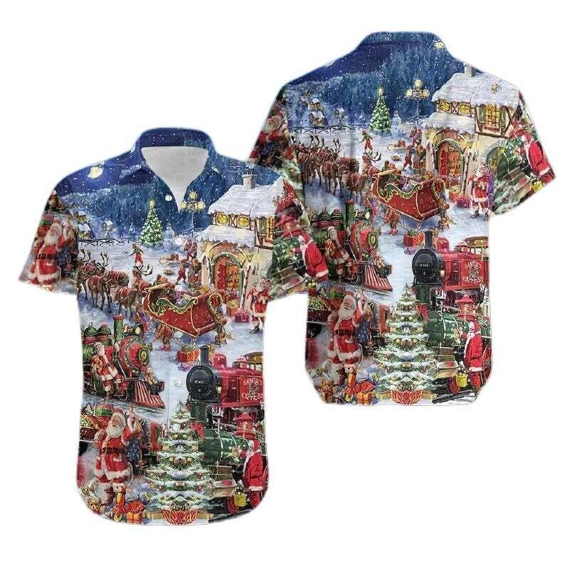 A Train Come Home Christmas Santa Claus Shirt, Cotton Casual Button Down Short Sleeves Hawaiian Shirt Unisex Full Print For Tropical Summer