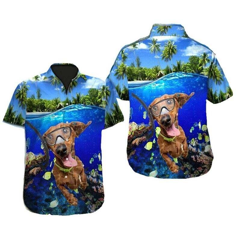 Dachshund Dog Swimming Tropical Cotton Casual Button Down Short Sleeves Hawaiian Shirt Unisex Full Print For Tropical Summer Vacation