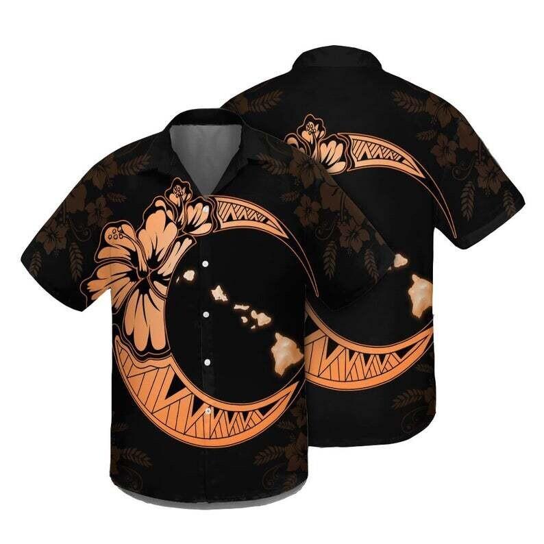 Hawaiian Map Hibiscus Turtle Polynesian Moon Hawaiian Shirt Orange Cotton Casual Button Down Shirt Unisex Tropical Summer All Seasons