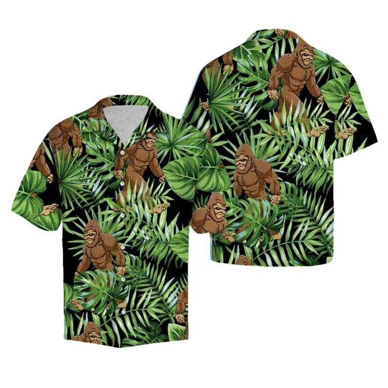 Funny Angry Big Foot Jungle Tropical Alohas Cotton Casual Button Down Short Sleeves Hawaiian Shirt Unisex Tropical Summer Vacation Full Size