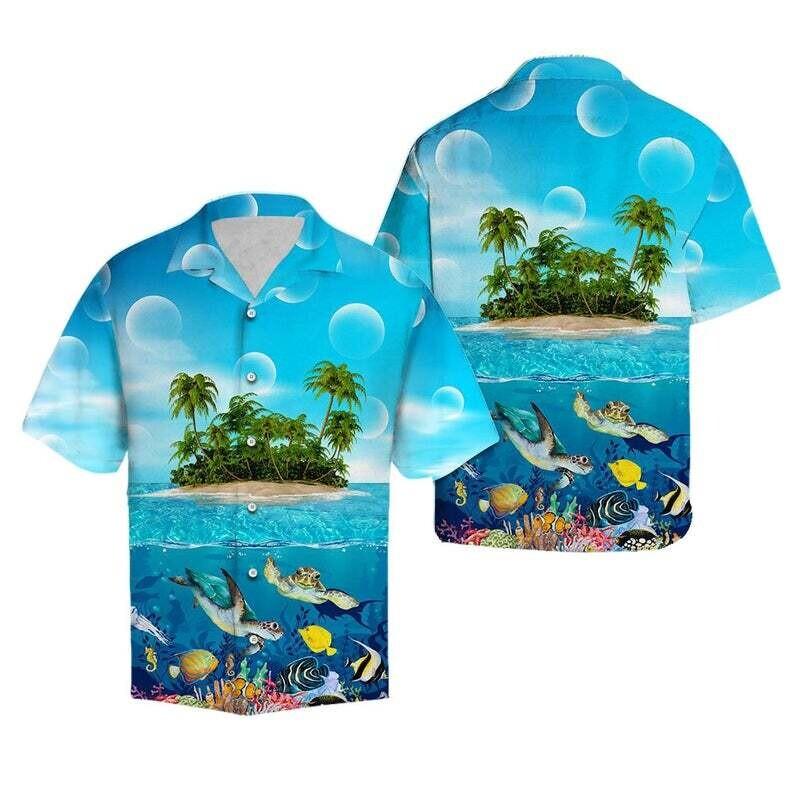 Turtle Island Hawaii Cotton Casual Button Down Short Sleeves Hawaiian Shirt Unisex Tropical Summer All Seasons Vacation Full Size S-5XL Size