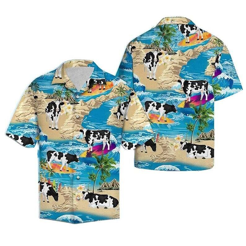 Cow Summer Surfing Tropical Cotton Casual Button Down Short Sleeves Hawaiian Shirt Unisex Full Print For Tropical Summer Vacation Full Size