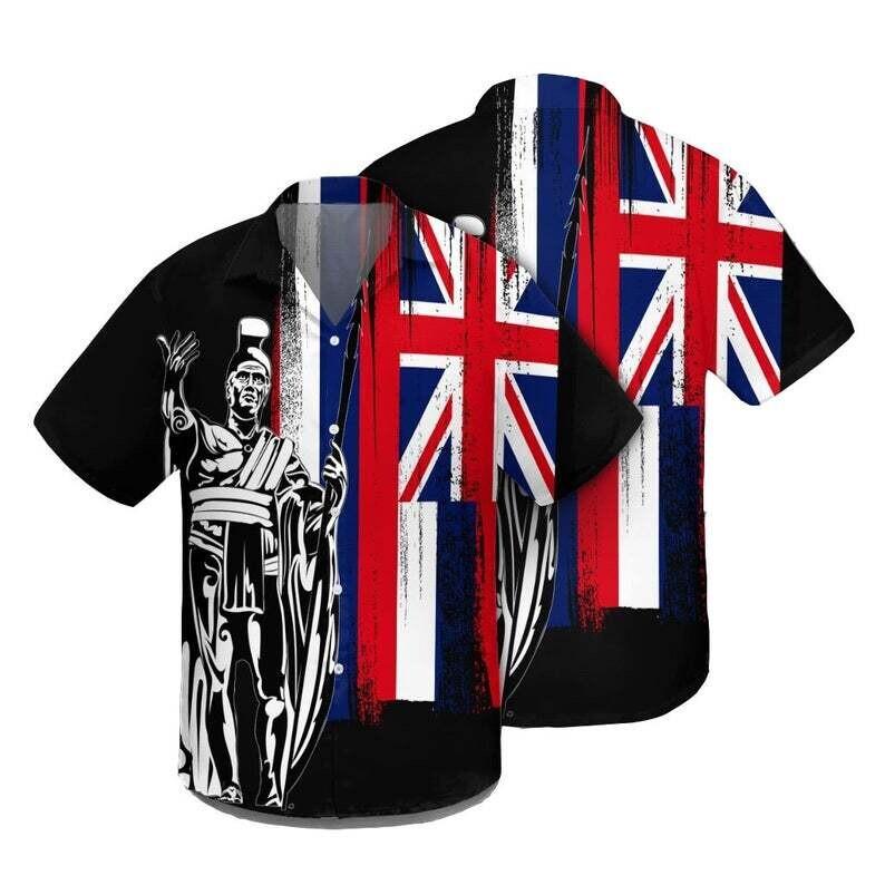 Hawaiian Hawaii King Flag Hawaiian Shirt, Cotton Casual Button Down Shirt Unisex Tropical Summer All Seasons Vacation Full Size S-5XL Size