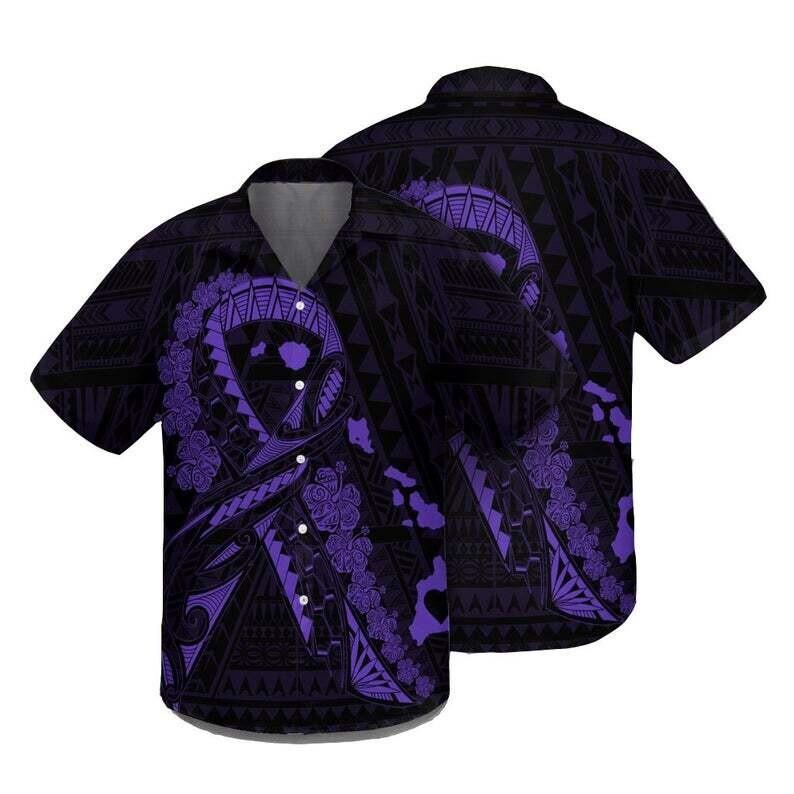 Hawaiian Map Heart Ribbon Cancer Hibiscus Purple Polynesian Shirt Cotton Casual Button Down Shirt Unisex Tropical Summer All Seasons