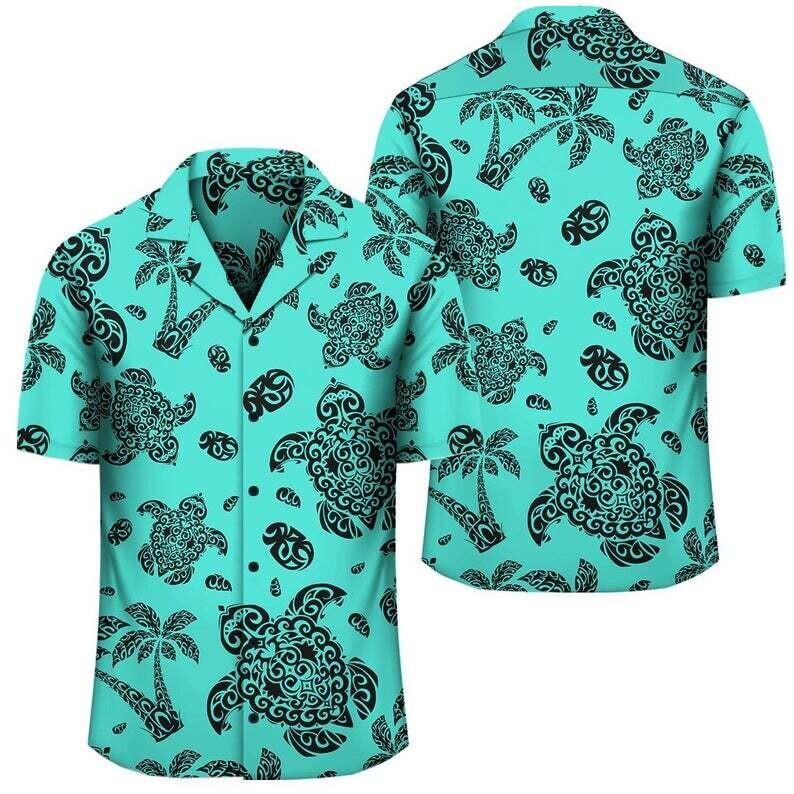 Polynesian Turtle Palm Sea Pebbles Turquoise Hawaiian Shirt Cotton Casual Button Down Shirt Unisex Tropical Summer All Seasons Vacation
