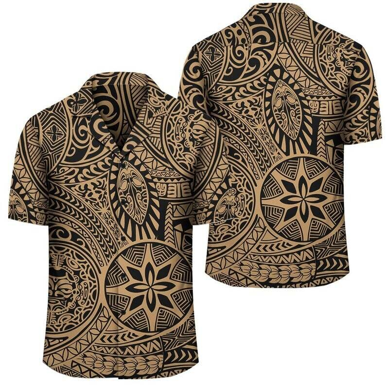 Polynesian Hawaiian Style Tribal Tattoo Gold Hawaiian Shirt Cotton Casual Button Down Shirt Unisex Tropical Summer All Seasons Vacation