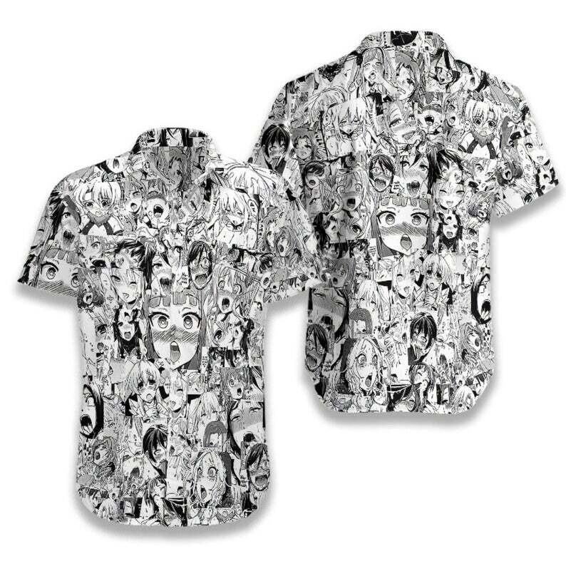 Ahegao Cotton Casual Button Down Short Sleeves Hawaiian Shirt Unisex Full Print For Tropical Summer Vacation Full Size S-5XL