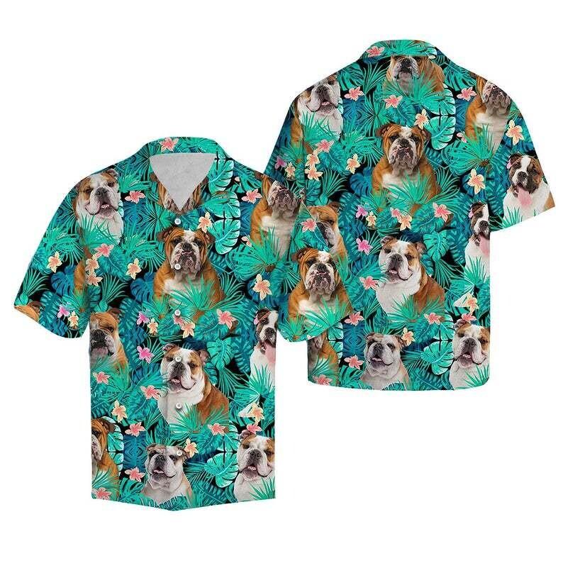 Bulldog Dog Tropical Cotton Casual Button Down Short Sleeves Hawaiian Shirt Unisex Full Print For Tropical Summer Vacation Full Size S-5XL