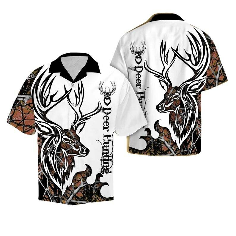 Deer Hunting Cotton Casual Button Down Short Sleeves Hawaiian Shirt Unisex Full Print For Tropical Summer Vacation Full Size S-5XL