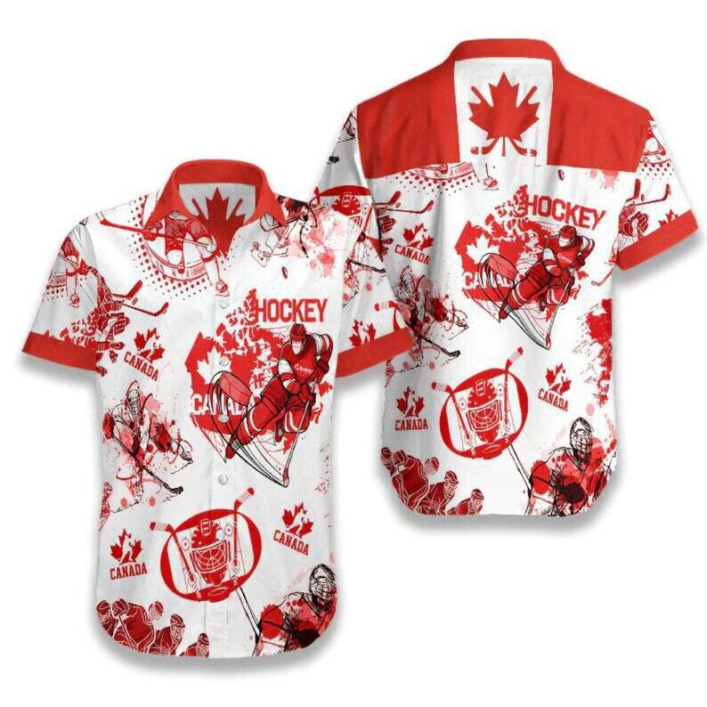 Canada Hockey Cotton Casual Button Down Short Sleeves Hawaiian Shirt Unisex Full Print For Tropical Summer Vacation Full Size S-5XL