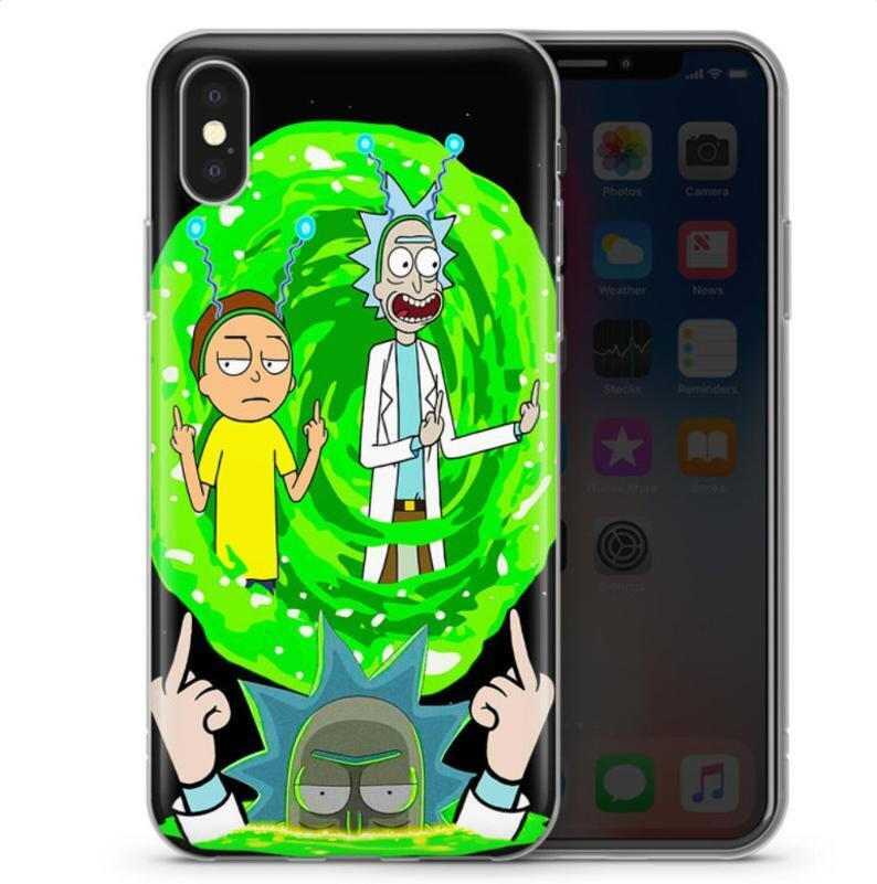 Rick and Morty Middle Finger Case, Cartoon's Fan Phone Case,Cartoon Network, Funny Rick And Morty, Cartoon Lover Case