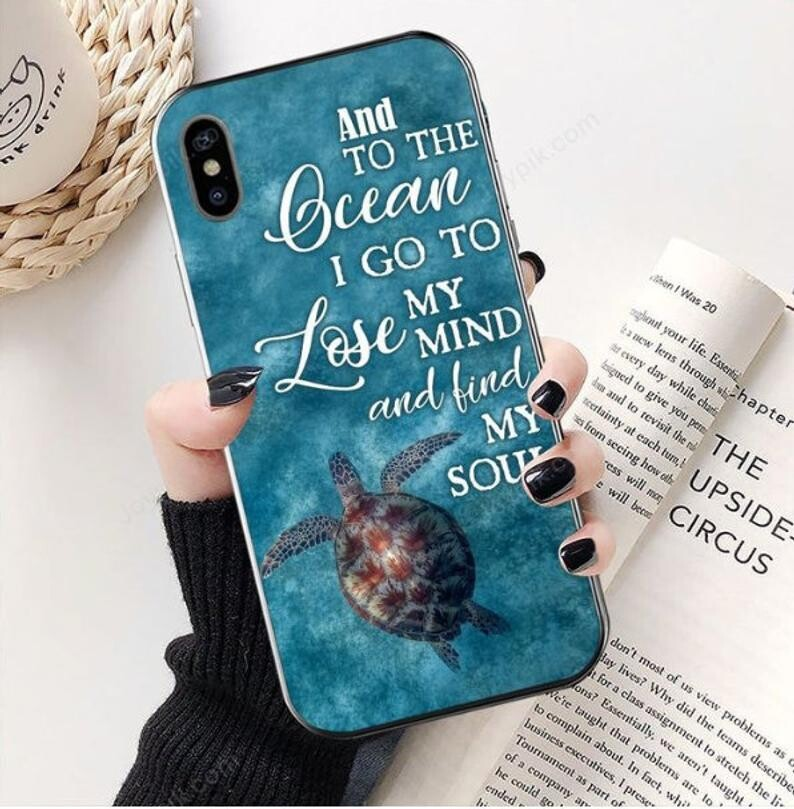 Retro Ocean Phonecase, Turtle And Into The Ocean I Go To Lose My Mind And Find My Soul Vertical Case, Case For Iphone