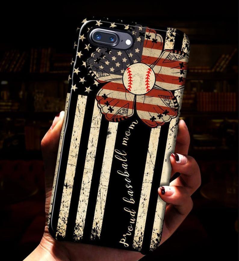 Proud Baseball Mom Flower Phonecase, American Flag Flower Phone Case, Baseball phonecase, Baseball Player phone case
