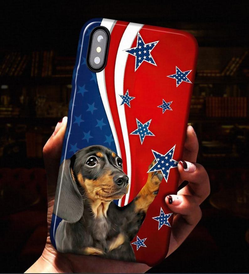 Dachshund Dog American Flag Phone case, Dachshund Phonecase, American Flag, Stars Phone Case, Blue White Red Phone Case