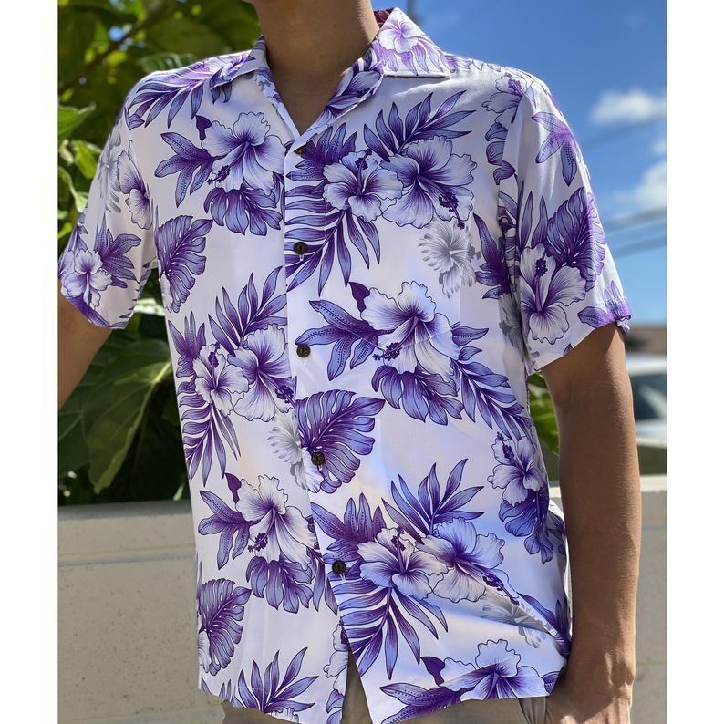 Made in Hawaii-Super Soft Rayon Bright Hibiscus in Purple Hawaiian Aloha Shirt