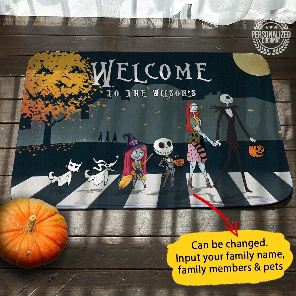 Personalised custom name Halloween Doormat