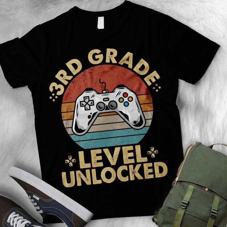 Vintage 3rd Grade Level Unlocked Video Game Back to School Boys T-Shirt / Third Grade Level Unlocked Video T-Shirt