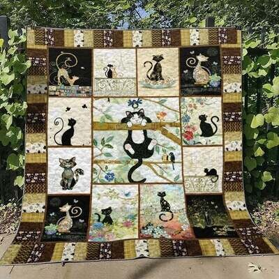 Cat Quilt Blanket for Cat Lover, Cat Mom, Cat Dad, Cat Owner, Cute Cat Animal Quilt, Gifts For Animal Lovers New year gifts