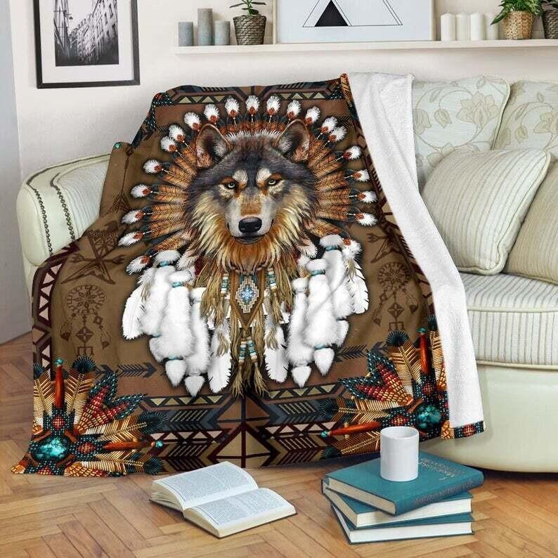 Native American Wolf Spirit - Vintage Native American Wolf Quilt