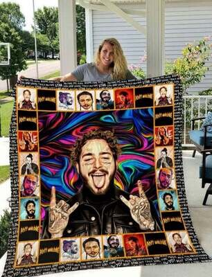 Post Malone Solo Male Singer Quilt Blanket,Gifts For Fans Blanket,Rock Star Blanket, Malone Blanket