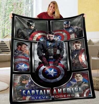 Captain-America Mar-vel Blanket,Steven Rogers Blanket, Mar-vel Hero Blanket, Chris Evans Blanket, Movie Lover,Avengers Blanket gift