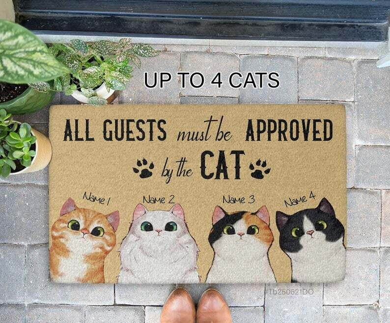 Funny Personalized Cat Decorative Mat-All Guests Must Be Approved By The Cat Doormat-Custom Cat Doormat-Welcome Mat-Gift For Cat Mom, Cat Dad