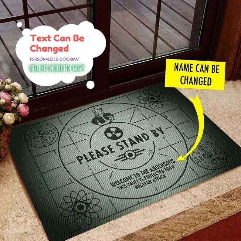 Personalized Fallout Please Stand By Doormat Personalized Doormat Rug Housewarming Gift Family Welcome Mat Custom Funny Birthday